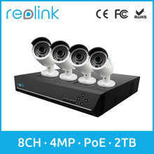 Reolink PoE Camera System 8channels 4 Bullet PoE Cams Network Video Recorder RLK8-410B4