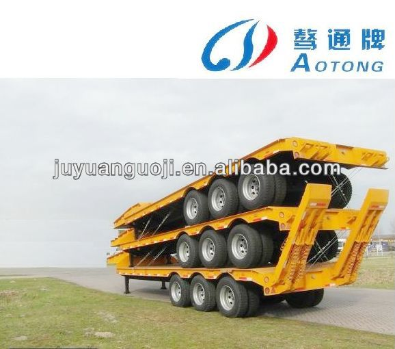 China Supplier Tri axles gooseneck 60ton low flatbed semi trailer with leaf spring ramp for sale