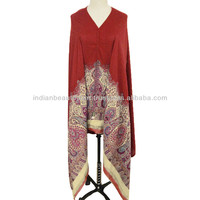 MAROON SHAWL EMBROIDERED WOOL BLEND STOLE WOMEN WINTER PASHMINA WRAP INDIA