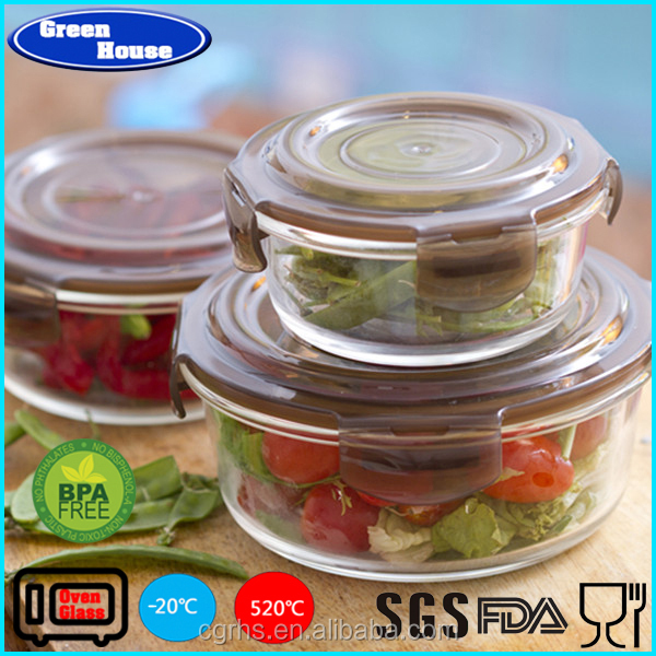 Round High Borosilicate Glass Heat Resistant Glass Meal Prep Food Container With Air Tight PP Lid Customized