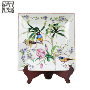 Best brand Chinese style white ceramic plate flower and birds pattern decorative antique ornaments porcelain plate