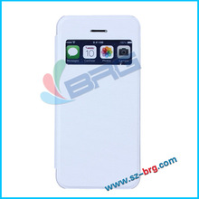 BRG-hot-selling !!!PU leather flip case with view window for iphone 5