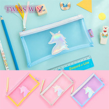 Ex-factory price wholesale stationery china fashion laser pen bag office school use unicorn pencil case