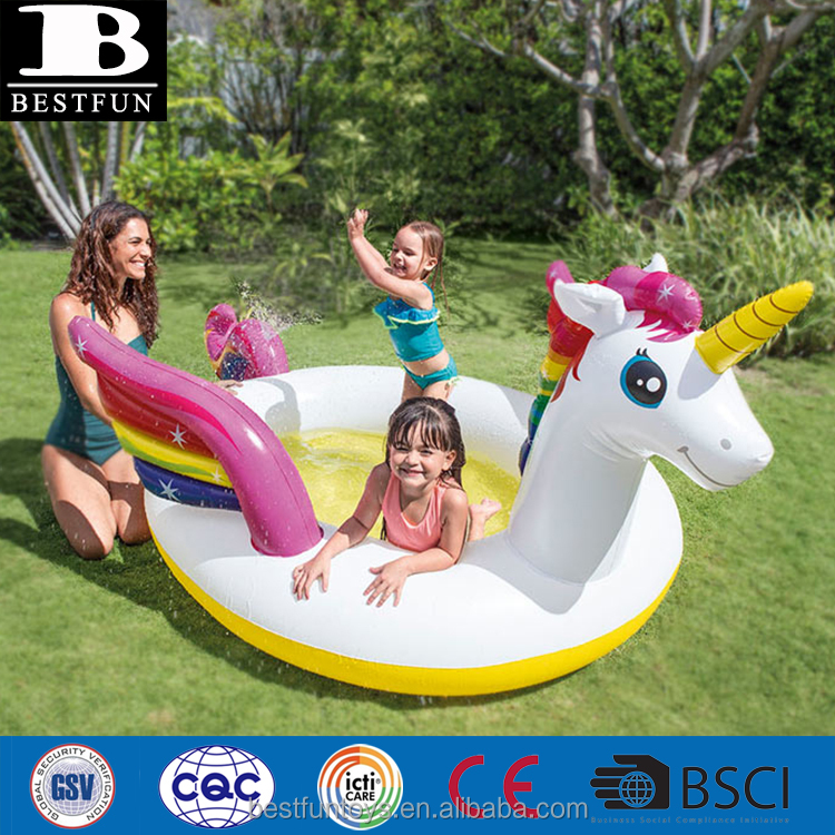 eco-friendly thick PVC inflatable unicorn paddling pool for children durable plastic blow up kids swimming pool for kids