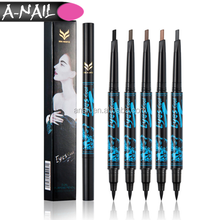Easy Use Double Side Waterproof Liquid Black Eyeliner + 5 Colors Automatically Rotate Triangular Eyebrow Pencil