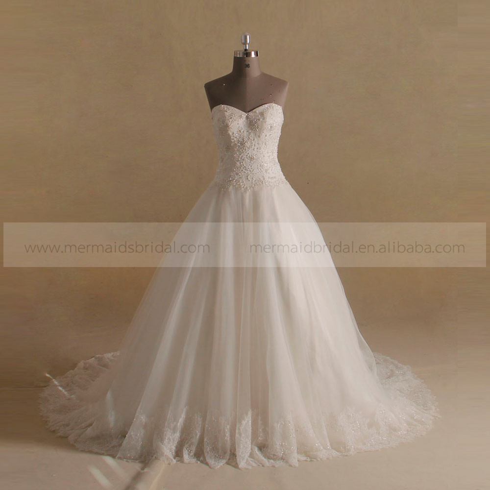 Elegant Puff A-line Sweet Heart Beads Flowers Lace Wedding Dress Long Train Real Sample