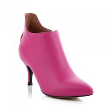 fancy spanish pink leather dress shoes without lace ankle boots