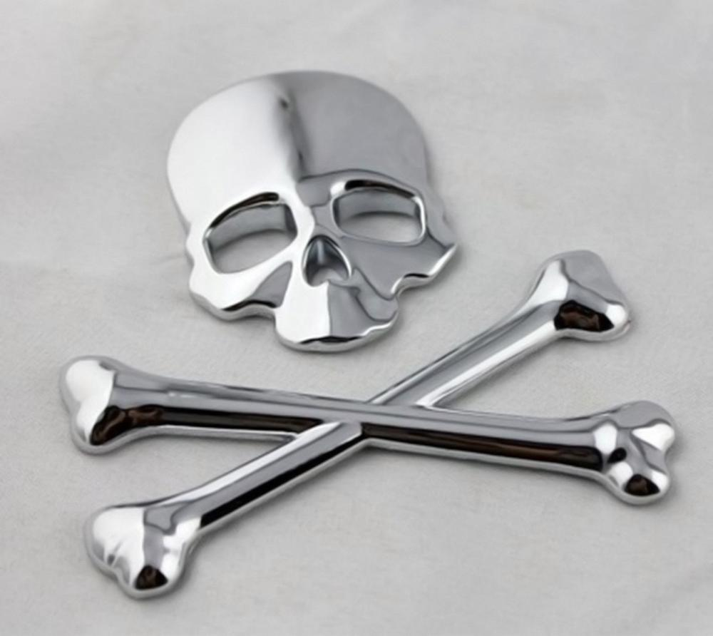 2 Sets Vehicle Car 3D Metal Chrome Skull Cross Bones badge Decorative Sticker