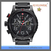 FS FLOWER - Over Size Big Dial New York Men's All Stainless Steel Lefty Chronograph Watch