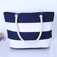 Striped Boat Bag Premium Cotton Canvas Tote Black, Red, Pink, Navy Blue, Purple Beach bag