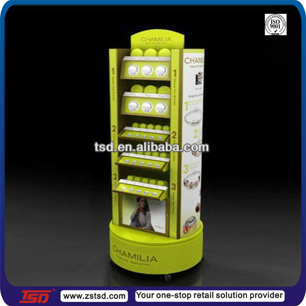 TSD-W740 custom floor rotating jewelry display stand/chain display shelf/Chamilia beads wooden display rack with wheels