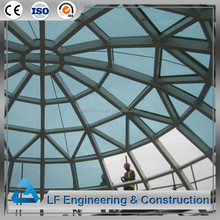 Light steel structure design prefab glass atrium roof