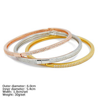 CZQ-0014 925 Silver Bangle with CZ Stones 3pcs into 1 Bangle with 3 Colors Plating Fashion Silver Bangle