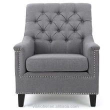 Arm Chair Accent Single Sofa Grey Fabric Upholstered Living Room Living Room Seat Furniture Home