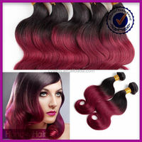 Top selling ombre human hair two tone color red indian remy hair weave