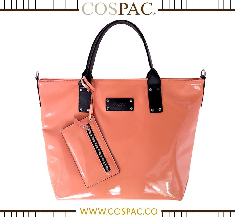 Woman Fashion Nude Orange Color Patent Handbag
