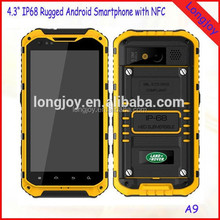 Factory Wholesale 4.3 Inch MTK6582 Quad Core 2GB/16GB Dual SIM Android 4.2 Rugged Waterproof Cell Phone with NFC