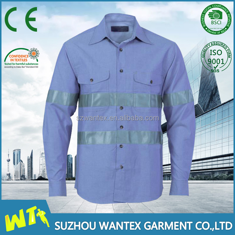new style blue safety reflective shirt for worker customed printing tshirt cotton working uniform