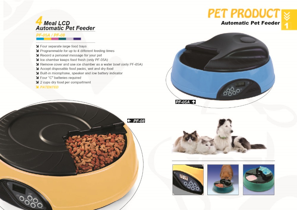 Pet Feeder Dry/Wet 4 Meals Tray Electronic Programmable Automatic Feeder for Dog/Cat with LCD display