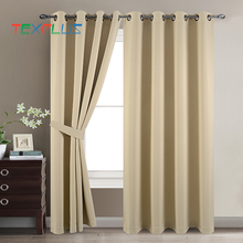 2018 hot sale 100% polyester grommet black out finished window curtain for hotel and living room