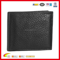 Classic Black Embossing Genuine Leather Wallet, Custom Handmade Casual Flip Billfold for Men