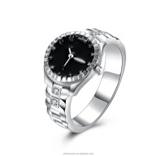 Silver plated Single Stone Crystal Wedding Rings Fashion Jewelry 2016 Finger Ring Watch Finger Ring for women/