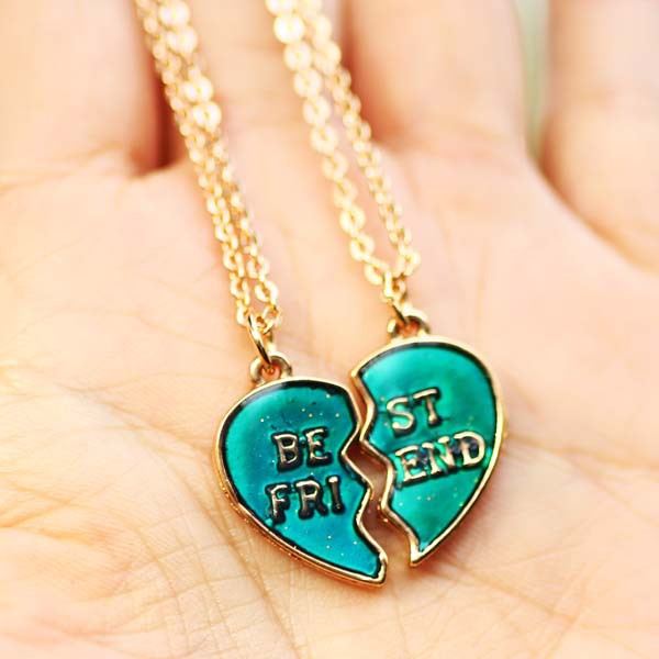 best friend gift jewelry color change pendant mood heart