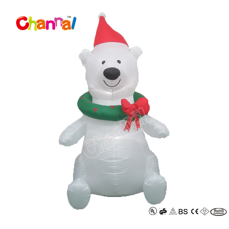 4ft Outdoor Christmas Decorative Polar Bear with Wreath for Festival Decorations