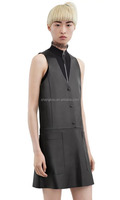 Japan Style Sleeveless Pocket PU Leather Dress Wholesale
