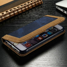 iCase New Design Phone Case for iPhone6, for iPhone 6s Wholesale Wallet Case, Jean Pattern leather Case for iPhone 6s
