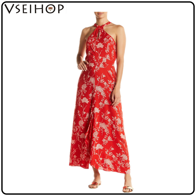New 2017 women clothing long one piece long dress images V-neck without girl photos floral sexy women dress