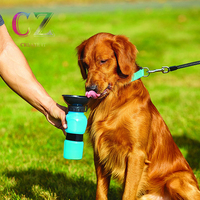 Blue Portable No Spill 18 Oz Dog Water Bottle by BulbHead On the Go Dog Water Bowl Keeps Dogs of all Sizes Hydrated