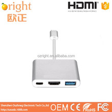 Hot Sale Support 4K*2K 3 in 1 USB C HUB HDMI Type C to HDMI USB3.0 Type C with PD Charge