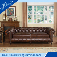 2016 Unique design sofa sets Wood Frame furniture italian design Chesterfield Leather Sofa simple&elegance Chinese furniture