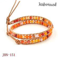 Custom Logo Exclusive Mixed Candy Color Natural stone beads chain Leather Bracelet Wholesale European Jewelry for womens