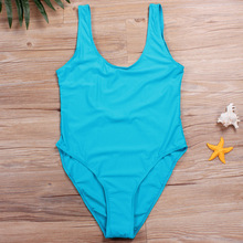 Hot Sexy Young Girls Bathing Suit Pure Color One Piece Swimwear