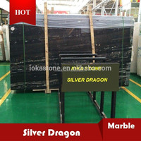 Silver dragon black marble with white line big slab