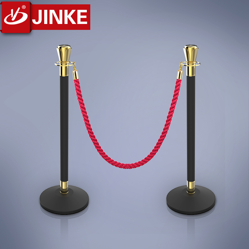 Golden Top Crowd Control Stanchions, Stainless Steel Used Road Remote Barrier, Rope Poles