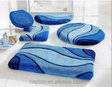 100%Polyacrylic jacquard Bathroom 5pcs set Mats with Tufed Anti-slipping latex back floor bathroom mat