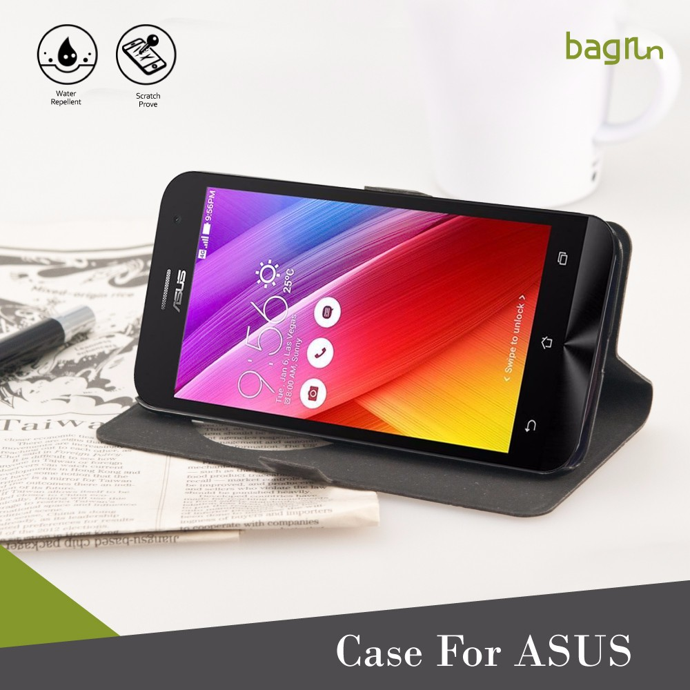 Custom Logo Stand Holder PU Leather Cell Phone Case For ASUS