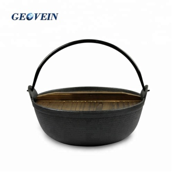 Mini Japanese Cast Iron Sukiyaki Hot Pot With Wooden Lid