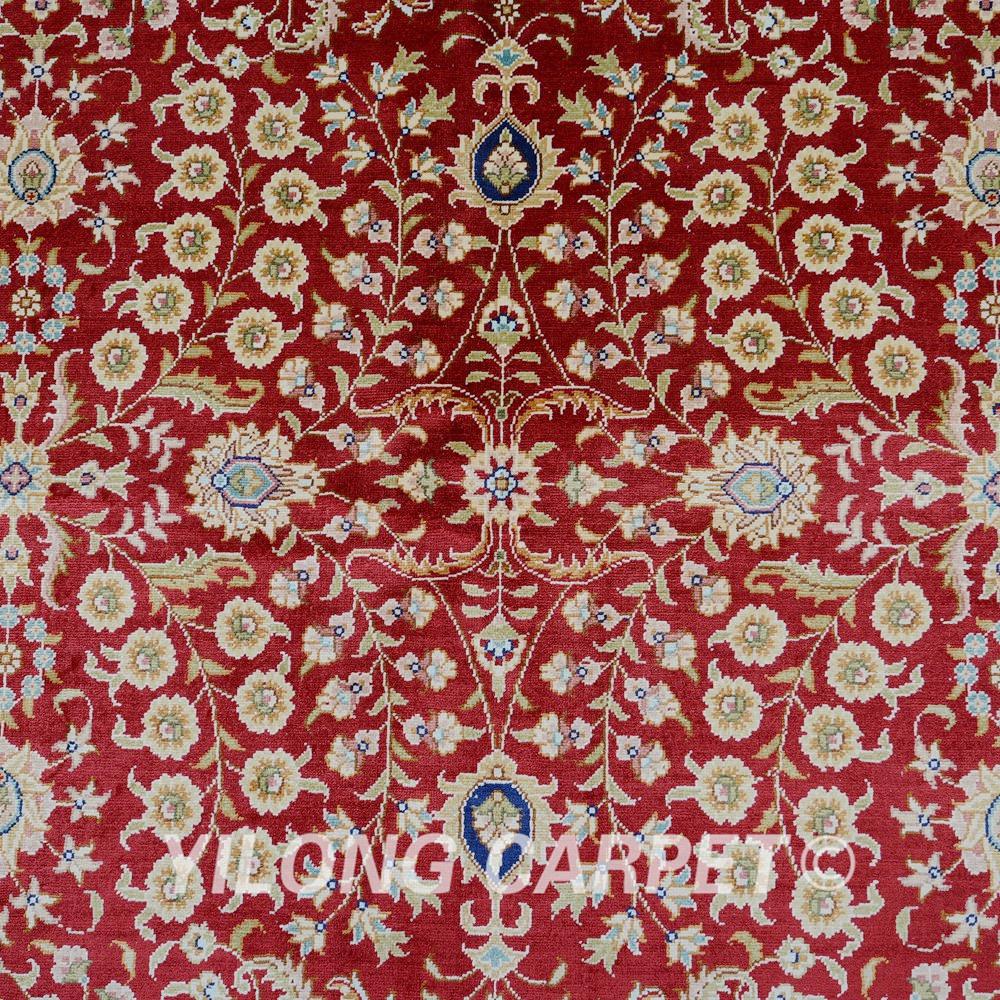 Yilong 5 39 x8 turqu a alfombra de seda rojo todo mano al por for Todo alfombras