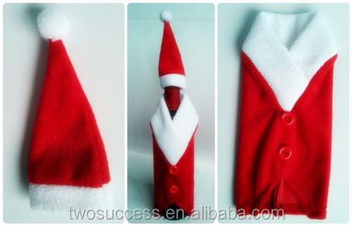 Hot sale red non-woven fabric Christmas wine bottle cover .jpg