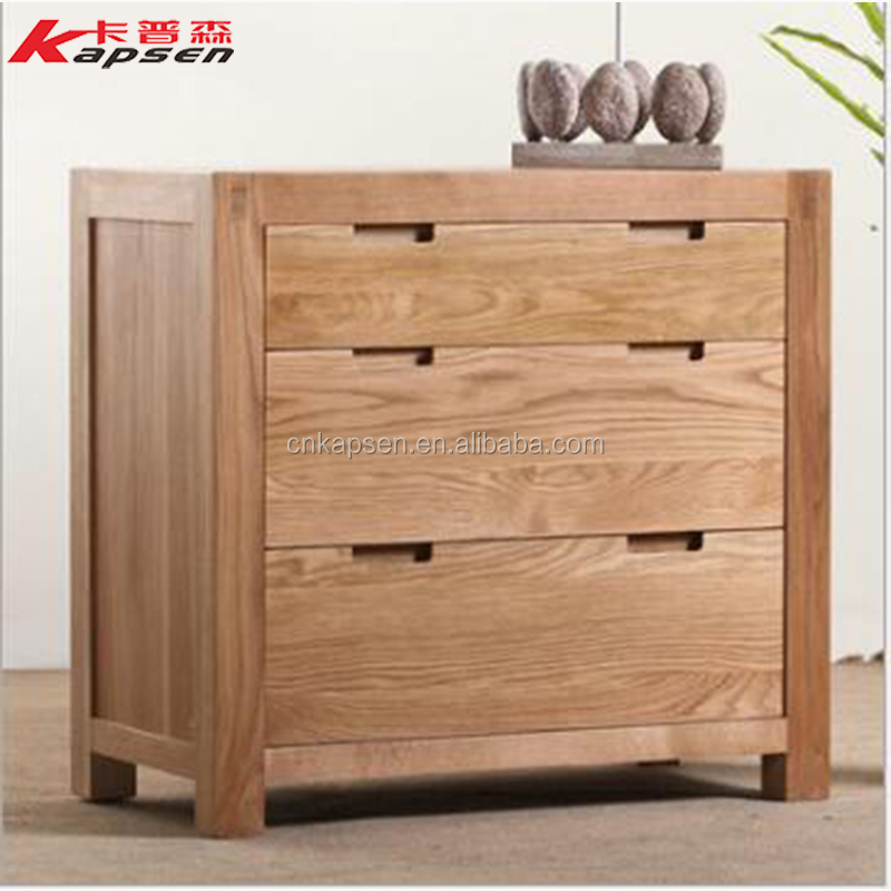 Living Room Furniture White Oak Wooden Design Home Wood 3-Drawers Storage Cabinet