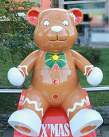 Customized unique sitting cartoon resin bear statue for public decoration