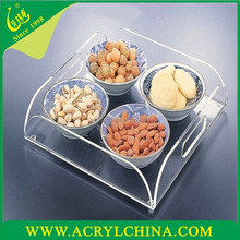 Wholesale new design custom shape clear acrylic serving fruit tray,Breakfast Serving Tray with Handles
