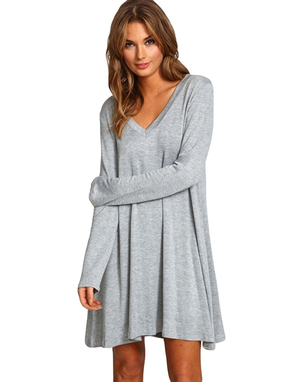 Buy Plus size women winter dresses 2015 long sleeve dress new arrival sexy  jersey cotton Swing Dresses autumn casual t shirt dress in Cheap Price on  ... 5bf11c4f9