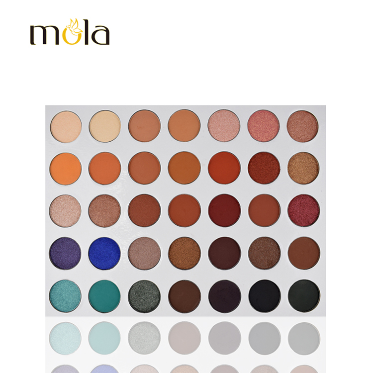 Mola custom your own brand 35 color cardboard eyeshadow palette makeup suppliers china