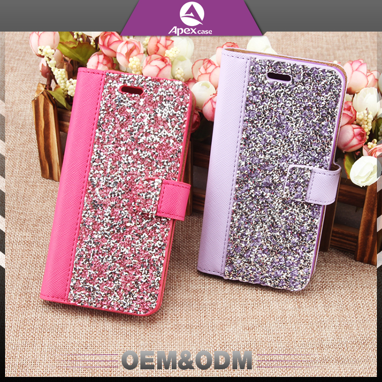 Promotion hand made diamonds wallet card slot rhinestone cell phone case for samsung galaxy PU leather phone case cover
