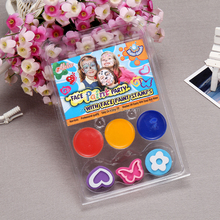 OEM 3 colors kids face paint non toxic with face paint stamps
